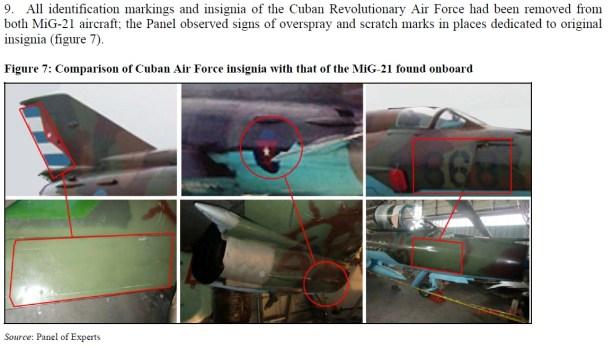 Comparando insignia da força aérea cubana com a do MiG-21 encontradoia bordo