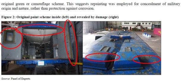 Containers pintados de Azul para esconder armas de guerra