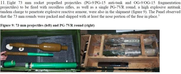 projeteis 73 mm e PG-7VR Lançador (não lembro de palavra que sirva para tradução similar no português)