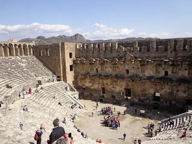 Innere des Amphitheater in Aspendos