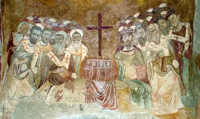 Darstellung von Nikolaus auf einem Fresko.