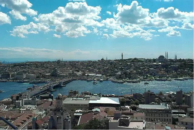 Panoramablick auf die beiden Seiten der Stadt Istanbul und den dazwischen liegenden Bosporus