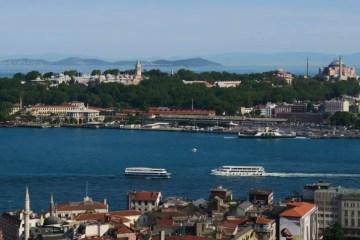 Titelbild mit der Aufschrift: So findest du günstige Flüge nach Istanbul. Zu sehen ist darauf im Hintergrund das Goldene Horn, der Bosporus und die Sehenswürdigkeiten in Sultanahmet.