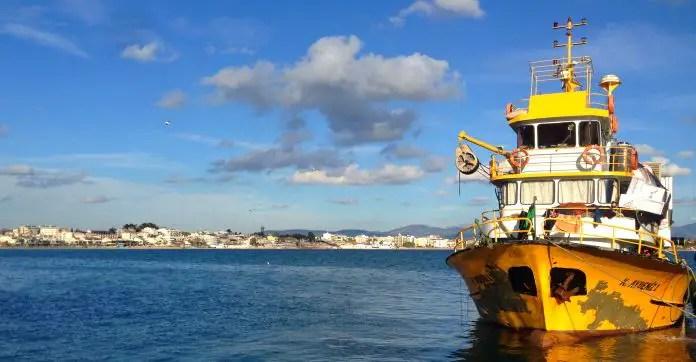 Ein gelbes Schiff liegt am Hafen vor Anker. Dahinter ist die Küste von Didim und der Strand zu sehen.