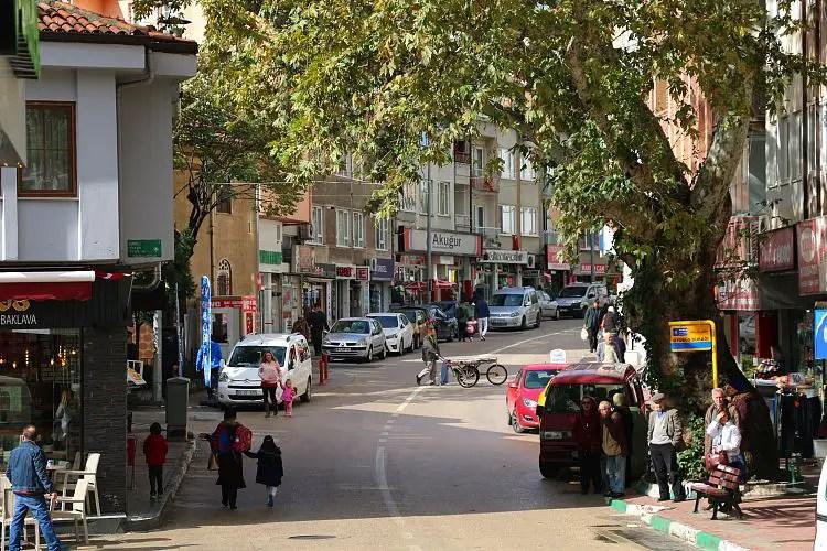 Eine belebte Straße mit Geschäften und Menschen