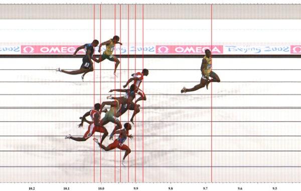 Usain Bolt ganando en fotofinish