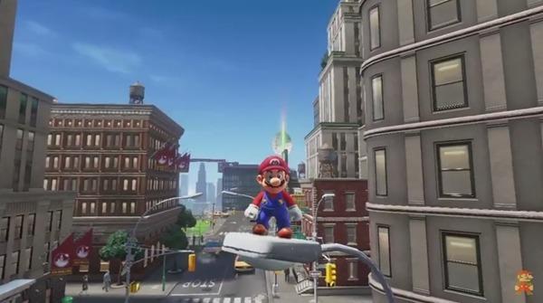 Super Mario sobre una farola