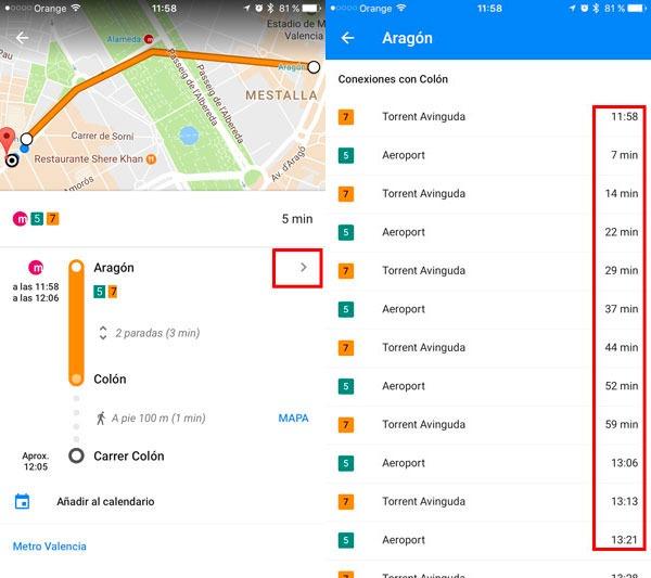 trucos google maps transporte publico horarios