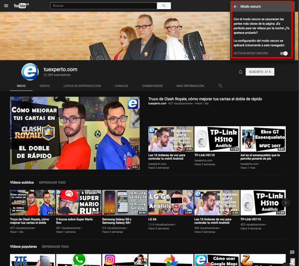 modo oscuro youtube activar