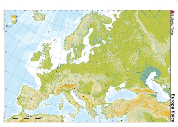 Mapa de Europa con relieve