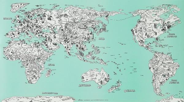 Mapamundis artísticos para imprimir y colgar