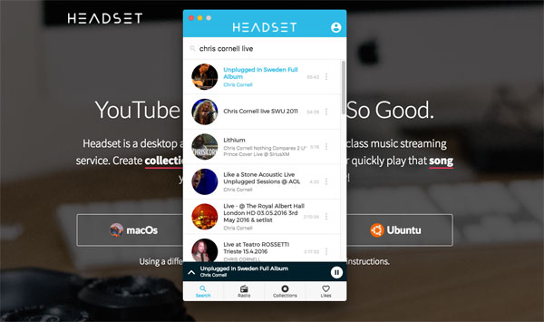Headset, una aplicación que convierte YouTube en Spotify