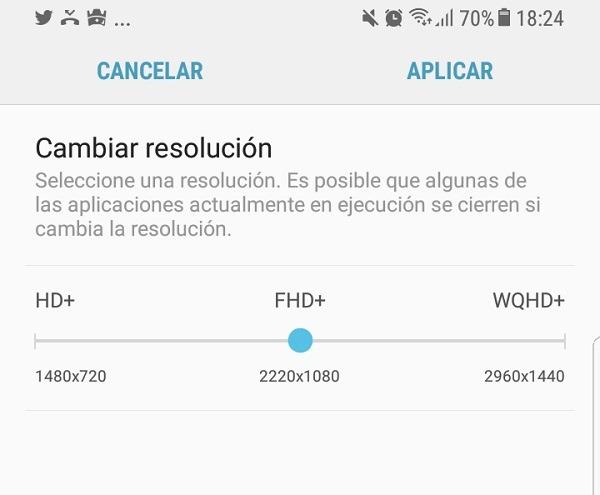 Cambiar resolución de pantalla del Samsung Galaxy S8