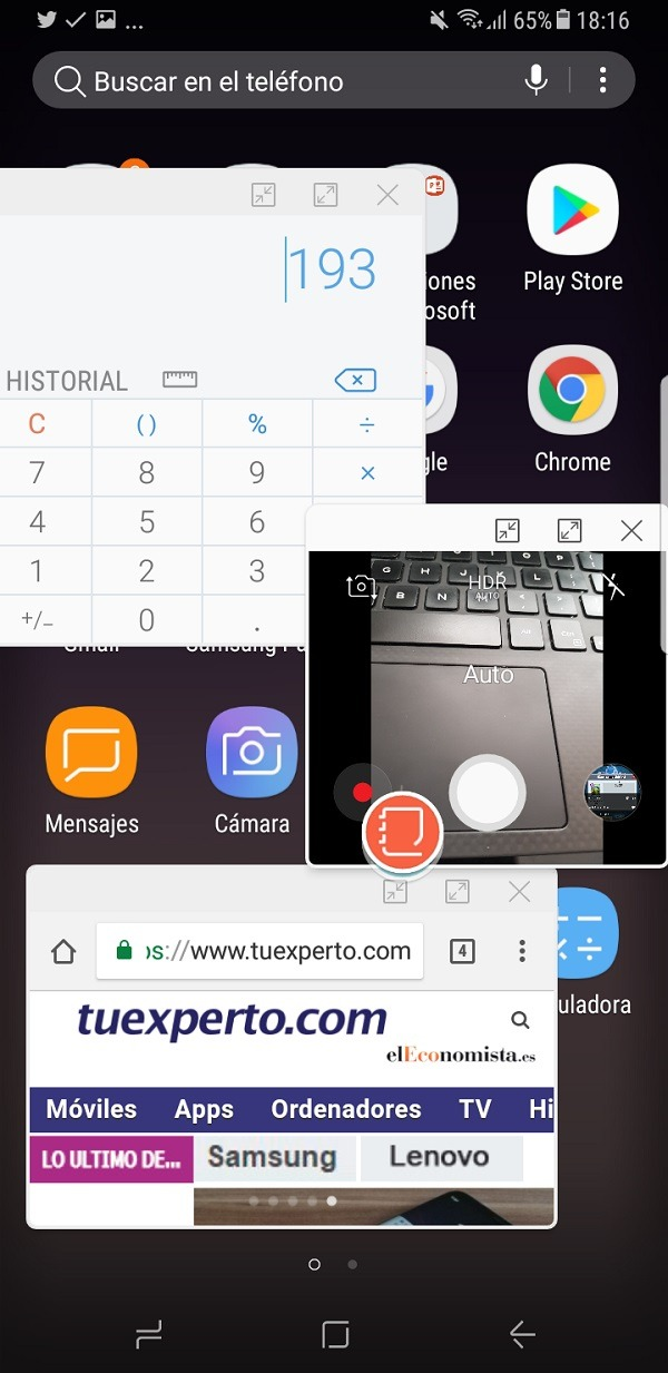Ventanas flotantes en el Samsung Galaxy S8