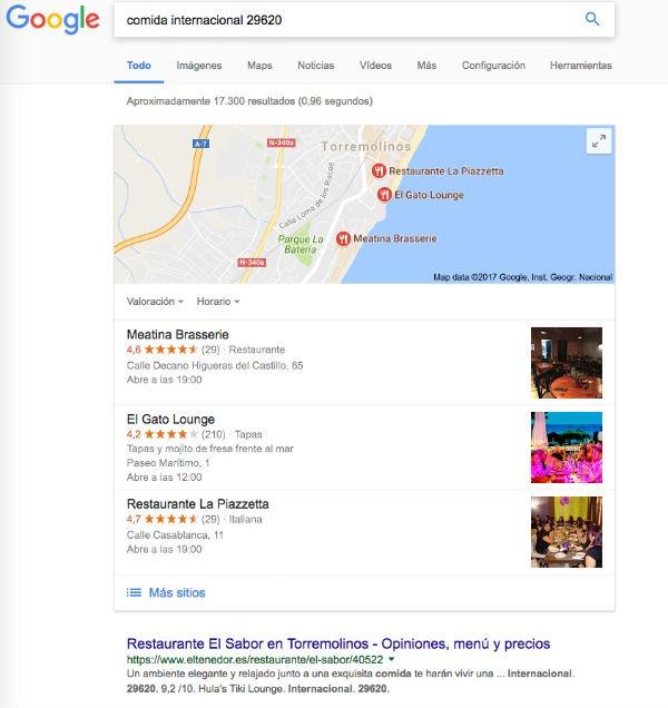 comida internacional Google