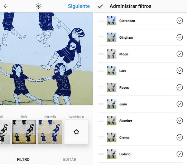 eliminar filtros instagram