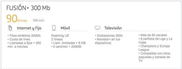 tarifas fibra trescientos con Movistar, Vodafone y Orange fusion plus 300