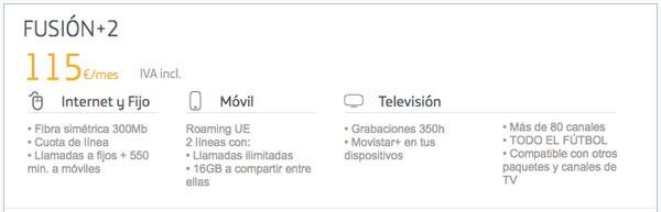 tarifas fibra 300 con Movistar, Vodafone℗ y Orange℗ fusion+ 2