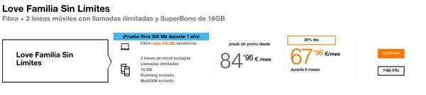 tarifas fibra trescientos con Movistar, Vodafone y Orange one de love con múltiples líneas
