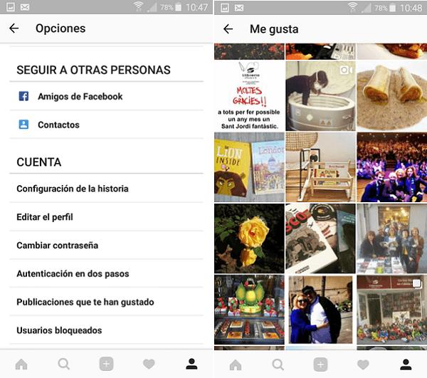 publicaciones que te han gustado instagram