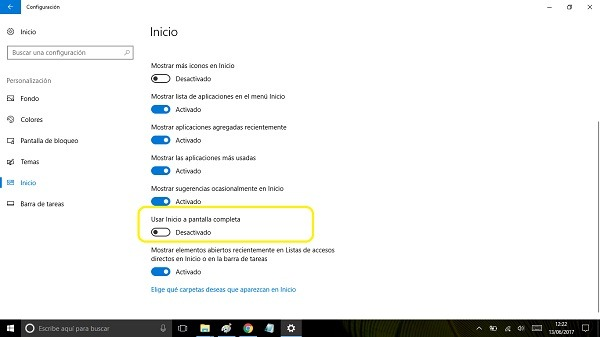 usar inicio pantalla completa windows 10