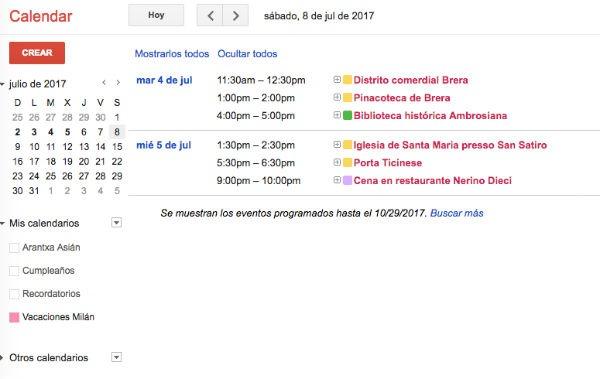 opciones de visualización Calendar