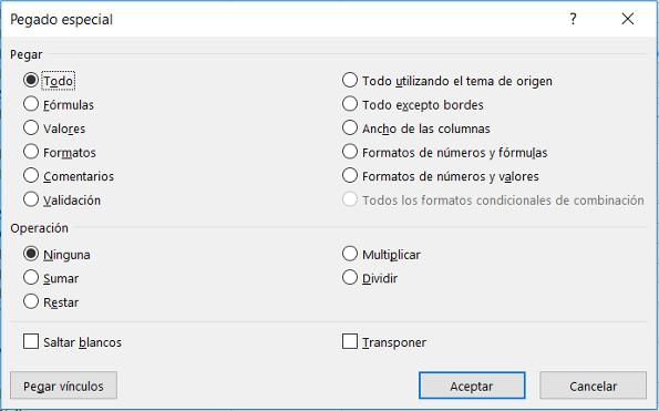 Atajo teclado Excel pegado especial