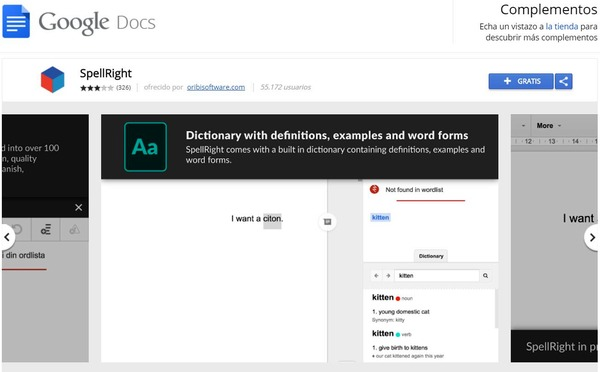 GoogleDocs ext spellright