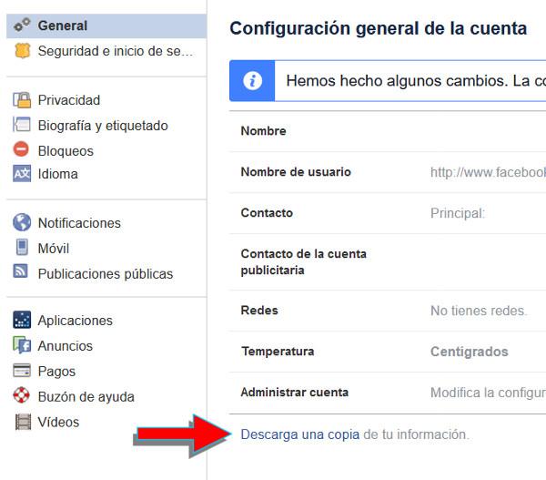Trucos Facebook - Generar copia de todos tus datos
