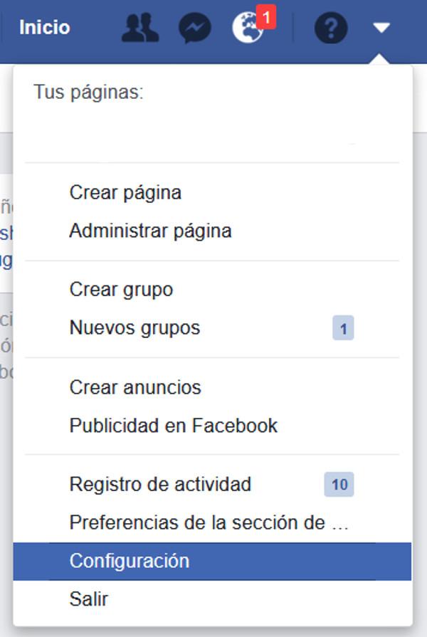 Trucos Facebook - Menú de configuración