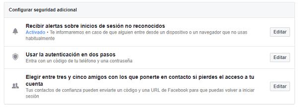 facebook seguridad extra