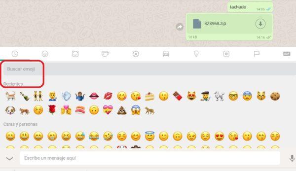 buscar emoji whatsapp web