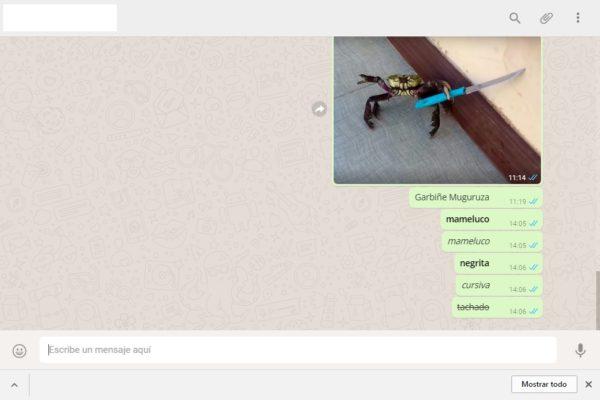 negrita cursiva y tachado whatsapp web