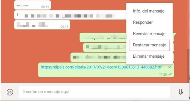 destacar mensaje whatsapp