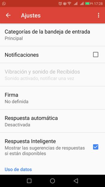 gmail app ajustes firma