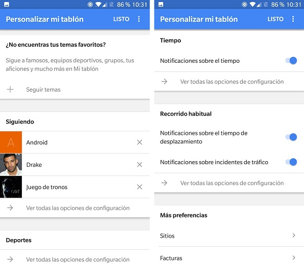 personalizar el tablón google now
