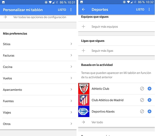personalizar el tablon google now