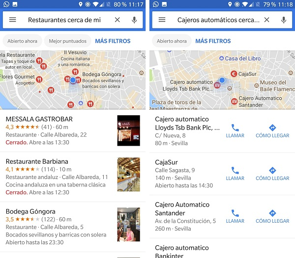 restaurantes y cajeros google now