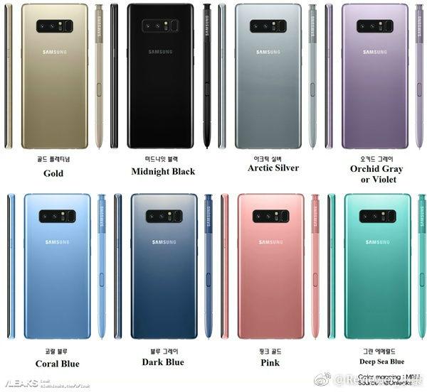 Samsung Galaxy Note 08 colores