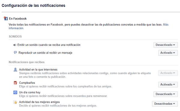 configuración notificaciones