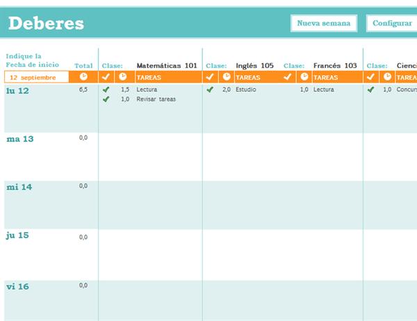 Plantilla de horario escolar gratis(free) Excel