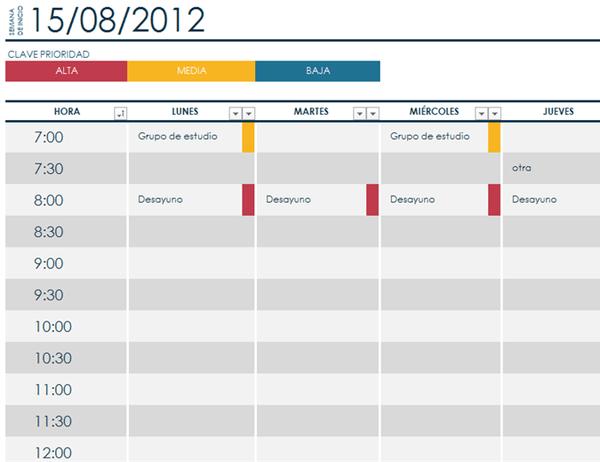 Programacion semanal Excel horario plantilla