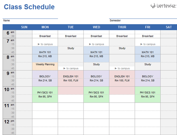 horario ingles plantilla Excel