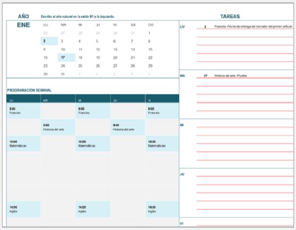 calendario estudiantes