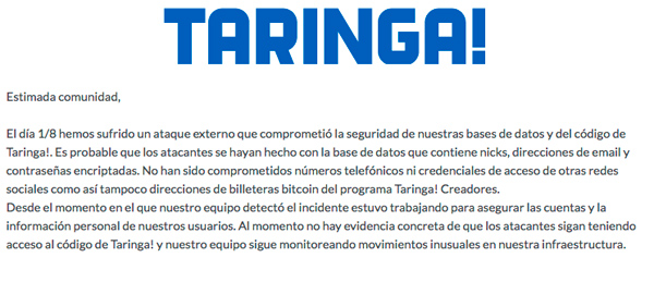 El comunicado de Taringa! tras el hackeo