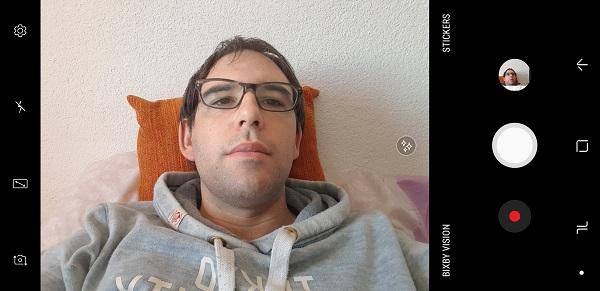 Interfaz de la camara para selfies del Samsung Galaxy Note 8