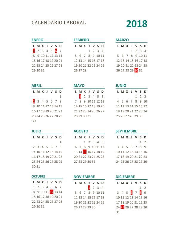Calendario laboral 2018 completo