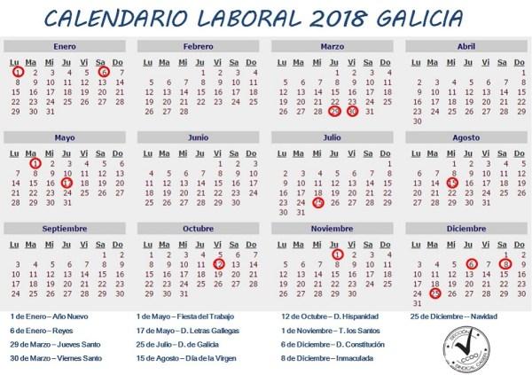 Calendario laboral de Galicia 2018