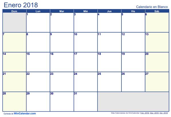 Calendario 2018 en Word, ©Excel y PDF