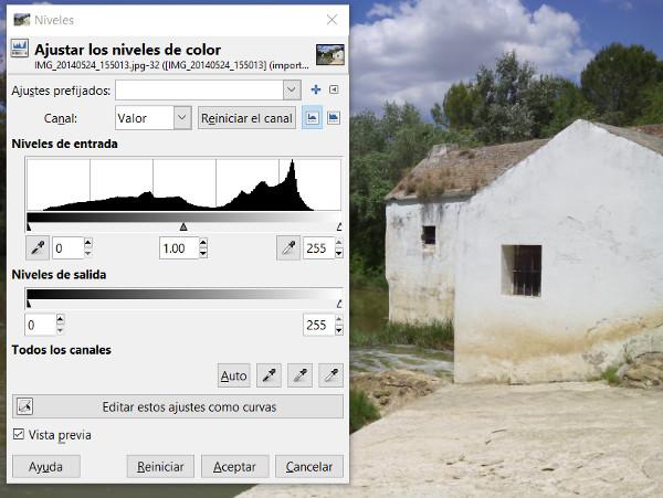 Mejorar una fotografía con GIMP uno - Ajuste de color